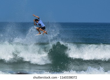 Saquarema, Rio de Janeiro , Brazil - May 6, 2018: Competitors during the heats of Oi Rio Pro, stage of the world surfing league, held in the waves of Itauna beach.