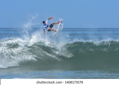 Saquarema, Rio de Janeiro , Brazil - May 6, 2018: The Two times World Champion Gabriel Medina, brazilian pro surfer, at the World Surf League stop at Saquerema - Rio de Janeiro, Brazil