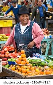 Saquisili. Ecuador. 04.03.08. Ecuadorian woman on a market in the village of Saquisili in the Avenue of the Volcano's in the Cotopaxi region of Ecuador, South America