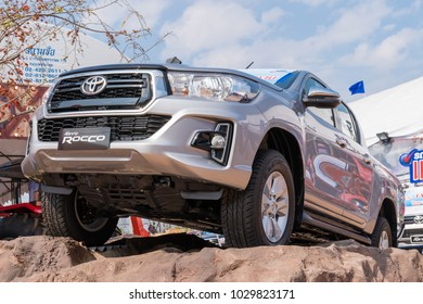 SARABURI THAILAND -FEBRUARY 2 2018:Pickup Truck Car Toyota Hilux Revo Rocco on display, Thialand on 2 February 2018.