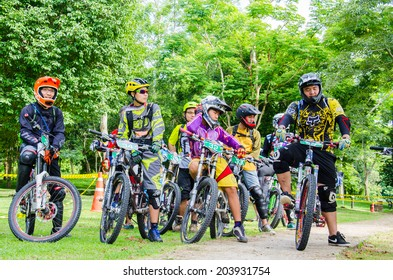 SARABURI, THAILAND - JULY 6 : Unidentified biker riding a mountain bike at Thailand Enduro Series 2014 on July 5, 2014 in Saraburi, Thailand.