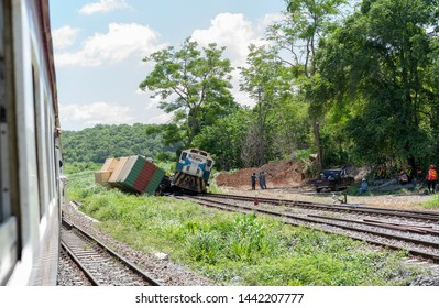 SARABURI, THAILAND - JUNE 20, 2019: View from a passing train of a derailment and collision between two freight trains on the north eastern mainline railway between Bangkok and Ubon Ratchathani