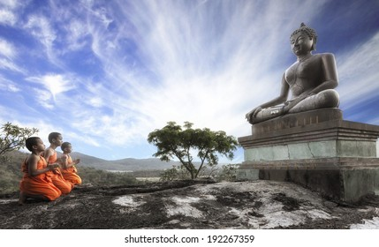 SARABURI, THAILAND - MAY 12 : Lord Buddha Day or Vesak Day, Buddhist monk praying to the Buddha. MAY 12,2014 in Phrabuddhachay Temple, Saraburi, Thailand.