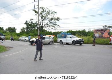Saraburi, Thailand - September 2, 2017: A car crash. Photographed at 3048, approximately 10 kilometers from Saraburi.