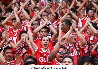SARABURI THAILAND-FEBRUARY13:Unidentified fans of Saraburi Fc supporters during Thai Premier League between Saraburi Fc and Chonburi F.C. at Saraburi Stadium on February 13,2015 in Saraburi Thailand