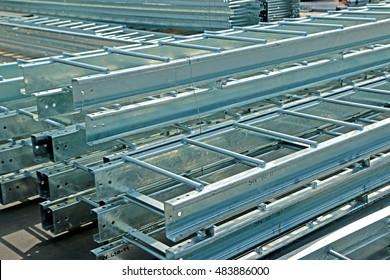 SARABURI-THAILAND-DECEMBER 17 : Packing of hot-dip galvanized steel member for steel tower in Transmission line at warehouse on December 17, 2015 Saraburi Province, Thailand