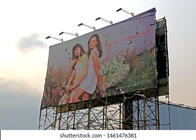 SARABURI-THAILAND-FEBRUARY 24 : Detail of the old advertise billboard near the road in the local town, February 24, 2016, Saraburi Province, Thailand