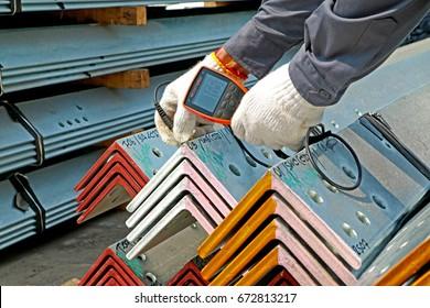 SARABURI-THAILAND-FEBRUARY 27 : Hot-dip Galvanized Steel member for steel  bunch on the rack in warehouse before shipment on February 27, 2017 Saraburi Province, Thailand