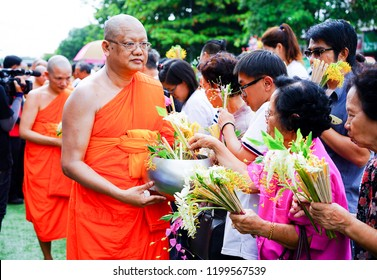 Saraburi,Thailand-Jul 8, 2017: Buddhist to offer food to the monks in Buddhist lent.