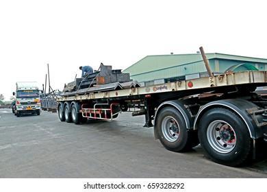 SARABURI-THAILAND-MARCH 24 : Transportation truck at steel factory on March 24 , 2016 Saraburi Province, Thailand