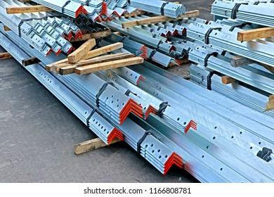 SARABURI-THAILAND-NOVEMBER 21 :  Hot-dip galvanized steel member bunch on the rack in warehouse before shipment at steel factory, November 21, 2017 Saraburi Province, Thailand