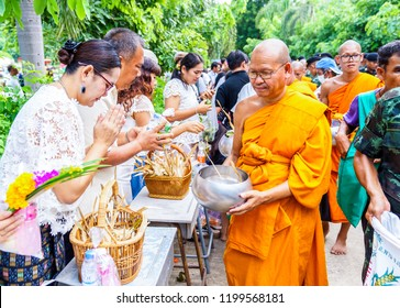 Saraburi,Thailand-Oct 6, 2017: Buddhist to offer food to the monks in end of Buddhist lent.