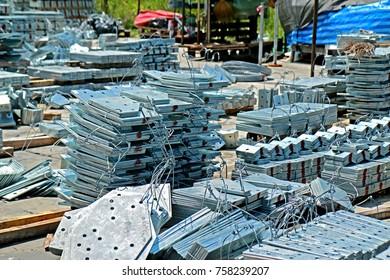 SARABURI-THAILAND-OCTOBER 10 : Hot-dip galvanized steel member for steel tower in transmission line, October 10, 2015, Saraburi Province, Thailand
