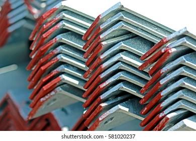 SARABURI-THAILAND-SEPTEMBER 28 : Hot-dip galvanized Steel member for steel tower in transmission line packing in warehouse before shipment on September 28 2015, Saraburi Province, Thailand.