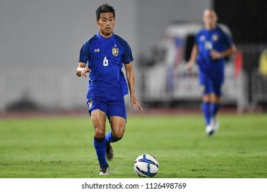 Sarach Yooyen No.6 (blue) of Thailand in action during 2018The International Friendly Match between Thailand and China at the Rajamangala Stadium on June 2, 2018 in Bangkok,Thailand,