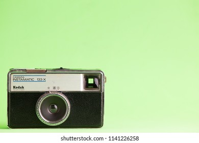 Saragossa Spain. July 18, 2018, Old camera of kodak instamatic brand