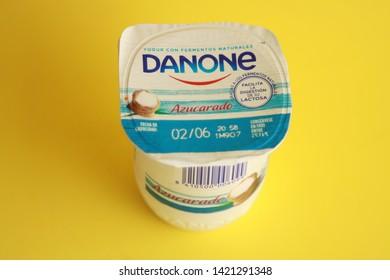 Saragossa Spain. June 11, 2019, DAnone brand sugary yogurt