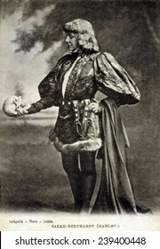 Sarah Bernhardt (1844-1923), French actress, in role of Shakespeare's Hamlet. 1887.
