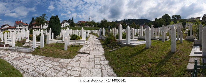Sarajevo, 07/08/2018: aerial view of the Sehidsko Mezarje Kovaci, Kovaci Cemetery, where the soldiers of the Army of Bosnia and Herzegovina, killed during the Bosnian War (1992-1995), are buried
