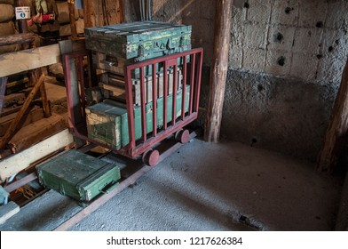 Sarajevo, 08/07/2018: conveyor cart and equipments in the Sarajevo Tunnel Museum under the house of the Kolar family in which was hidden the underground tunnel built in 1993 during the Siege