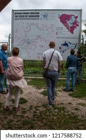 Sarajevo, 08/07/2018: people watching the map of the Siege of Sarajevo in the courthouse of the Kolar family house, now the Sarajevo Tunnel Museum, in which was hidden the 1993 underground tunnel