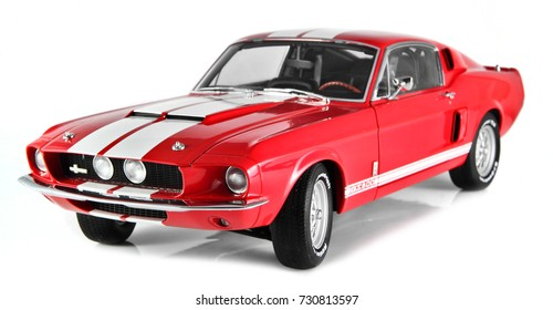 SARAJEVO, BIH - OCTOBER 9, 2017 : Ford Mustang Shelby GT500 year 1967, die cast model car isolated on white background.