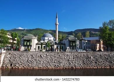 Sarajevo / Bosina and Herzegovina - 27 Apr 2018: The mosque in Sarajevo city, Bosina and Herzegovina