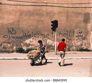 """SARAJEVO, BOSNIA, 03 JULY 1993 - The famous """"welcome to hell"""" graffiti on a wall in Sarajevo. The Bosnian capital is under siege by Serb forces."""
