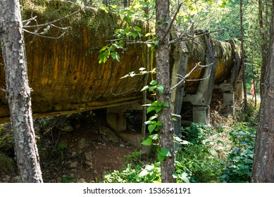 SARAJEVO, BOSNIA AND HERCEGOVINA - AUGUST 28, 2019: Abandoned Olympic Bobsleigh and Luge Track, built for the Olympic Winter Games in 1984