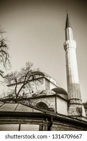 SARAJEVO, BOSNIA AND HERTZEGOVINA - March 2018: The Ferhad-Bey Mosque in Sarajevo, Bosnia and Hertzegovina