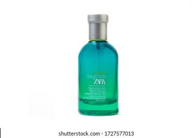 Sarajevo  / Bosnia and Herzegovina - 03.04.2020: ZARA perfume summer collection eau de toilette pour homme 100ML isolated on white background