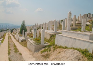 SARAJEVO, BOSNIA AND HERZEGOVINA, 05 JULY 2017 - Muslim cemetery dedicated to the victims of the Bosnian war, in Sarajevo, Bosnia and Herzegovina. Martyrs'Cemetery Kovaci is a memorial war graveyard.