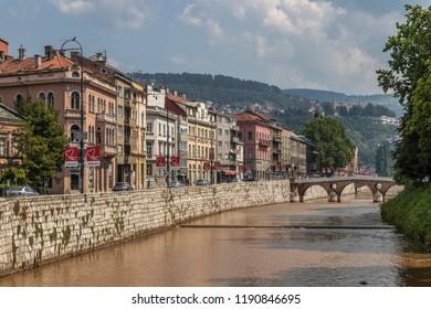 Sarajevo,  Bosnia and Herzegovina - 08.21.2018: The Miljacka river in the center of the city.