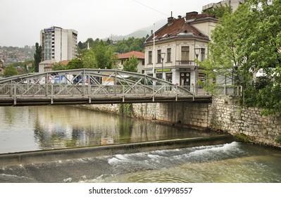 SARAJEVO. BOSNIA AND HERZEGOVINA. 13 MAY 2012 : Embankment of the Miljacka River in Sarajevo. Bosnia and Herzegovina