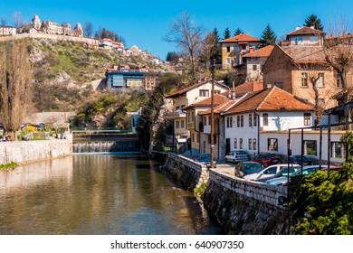 Sarajevo, Bosnia and Herzegovina - 15 March 2014 - View of Miljacka river in Sarajevo, capital of Bosnia and Herzegovina