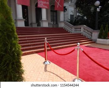 Sarajevo, Bosnia and Herzegovina, 8/12/2018: Red carpet in front of National Theatre during Sarajevo Film Festival