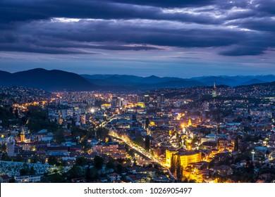 Sarajevo Bosnia and Herzegovina aerial skyline view.