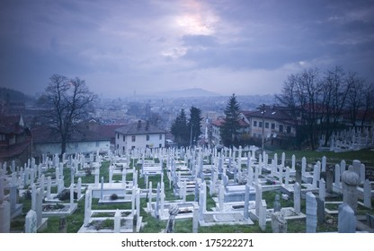 SARAJEVO, BOSNIA AND HERZEGOVINA - APR 25: The cemetery on the hill on April 25 2013 in Sarajevo, Bosnia. Total number of deaths during the Bosnian War (1992 - 1995) was about 110,000 people