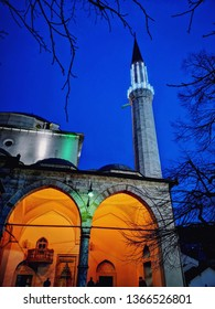Sarajevo, Bosnia and Herzegovina, April 11 2019: Islamic Mosque with Minaret in Bosnia and Herzegovina