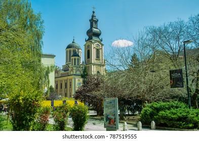 SARAJEVO , BOSNIA and HERZEGOVINA - APRIL 12, 2017: Cathedral Church of the Nativity of the Theotokos. Popular tourist destination in Sarajevo.
