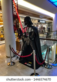 Sarajevo / Bosnia Herzegovina -April 13th 2019 Darth Vader of Star Wars made of Lego is standing in a mall