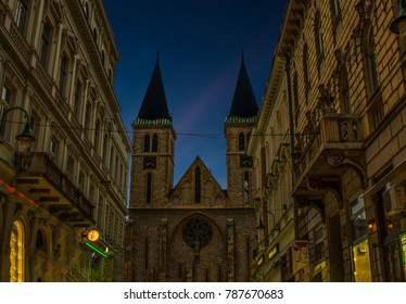 SARAJEVO , BOSNIA and HERZEGOVINA - APRIL 15, 2017: The Sacred Heart Cathedral in Sarajevo.