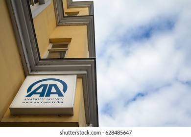 SARAJEVO, BOSNIA HERZEGOVINA - APRIL 17, 2017: Logo of Anadolu Agency on its main office in Sarajevo. Anadolu Agency is the main news agency of Turkey, famous for its ties with Turkish government.