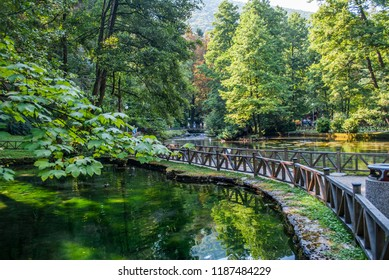 Sarajevo, Bosnia and Herzegovina: august 05,2015: Beginning river Bosna at Nature park Vrelo Bosne