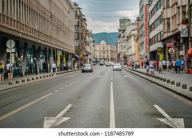 Sarajevo, Bosnia and Herzegovina: august 05,2015: The main street in Sarajevo, Bosnia and Herzegovina
