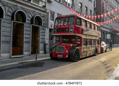 Sarajevo, Bosnia and Herzegovina - August 10, 2016: Beautiful morning in old town at the london bus replica in Sarajevo, Bosnia and Herzegovina.