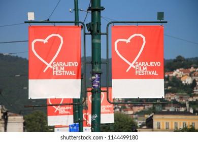 SARAJEVO - BOSNIA AND HERZEGOVINA - AUGUST 14 , 2016 : Heart of Sarajevo symbol of Sarajevo Film Festival , Bosnia and Herzegovina