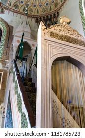SARAJEVO, BOSNIA AND HERZEGOVINA - AUGUST 18 2017: Interior details of the main entrance of Ali Pasha mosque in Sarajevo.
