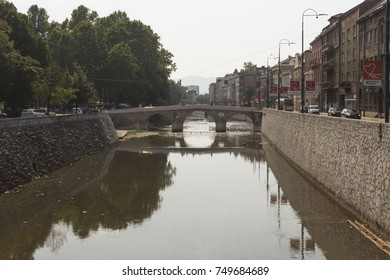 SARAJEVO, BOSNIA AND HERZEGOVINA - AUGUST 19 2017: Ponte Latino bridge in Sarajevo, famous for the beginning of the first world wai, on Miljacka river