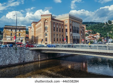 Sarajevo, Bosnia and Herzegovina - August 23, 2015. Sarajevo City Hall building commonly known as Vijecnica completed in 1896